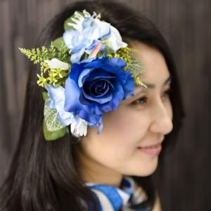 《濃青ブルーローズ》小花を取り合せた上質な出来上がり♪5,900円(在庫0)